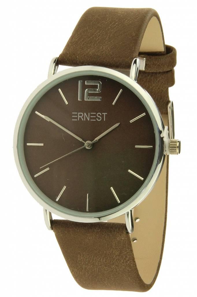 Ernest Horloge Silver Forever Brown