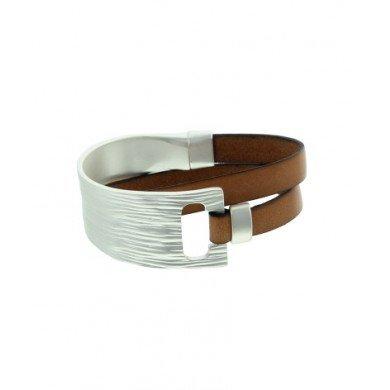 A-Zone Echt lederen wikkel armband met Metalen Element