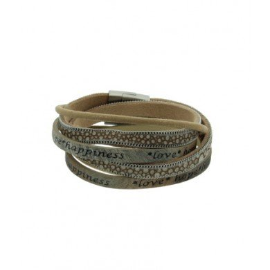 A-Zone Wikkel Armband Leer Love Hope Happiness Zand/Beige