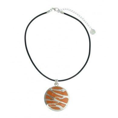 A-Zone Rubberen zwarte Koord Ketting met een Oranje Zilveren amulet hanger