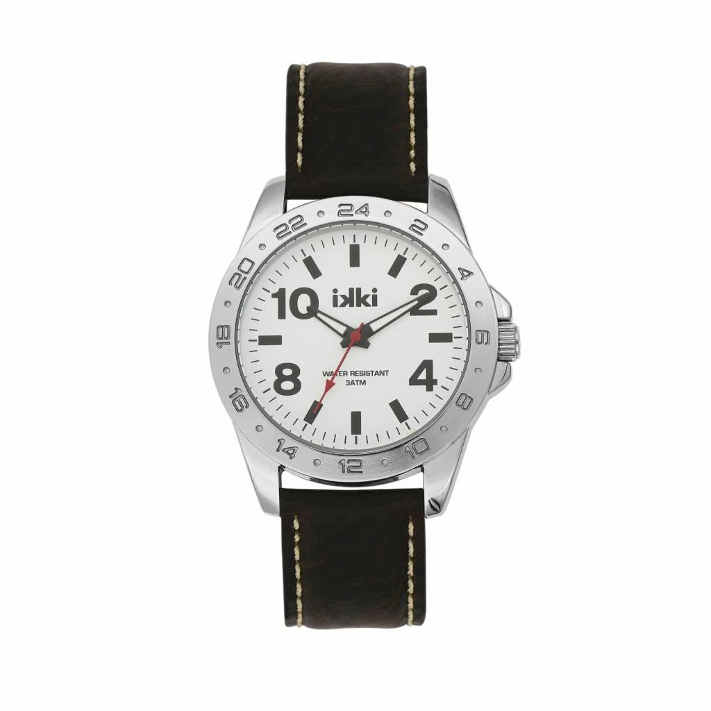 IKKI Horloge JAKE, JK05, 45mm Dark Brown-White-Silver