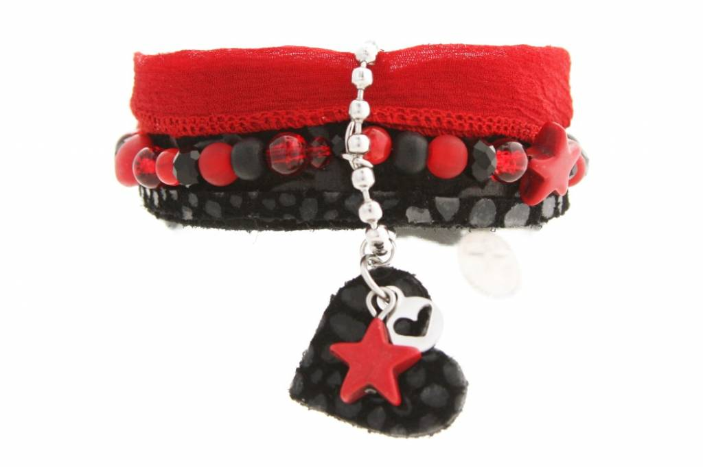 Gina Nina Armband Leer Lint Zwart-Rood 0049-001