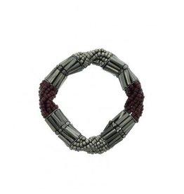 A-Zone Armband Elastisch Kralen - Bordeaux
