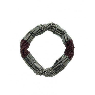 A-Zone Elastische kralen armband in bordeaux