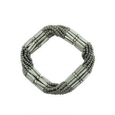 A-Zone Elastische kralen Armband in Taupe