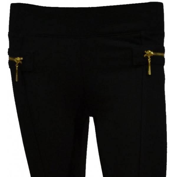 Fame Fashion Tregging Black met gouden ritsen
