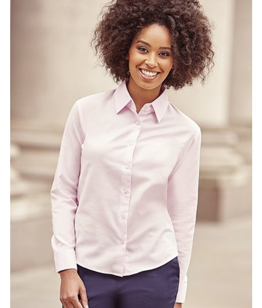 Russell Collection Ladies Oxford Blouse LS