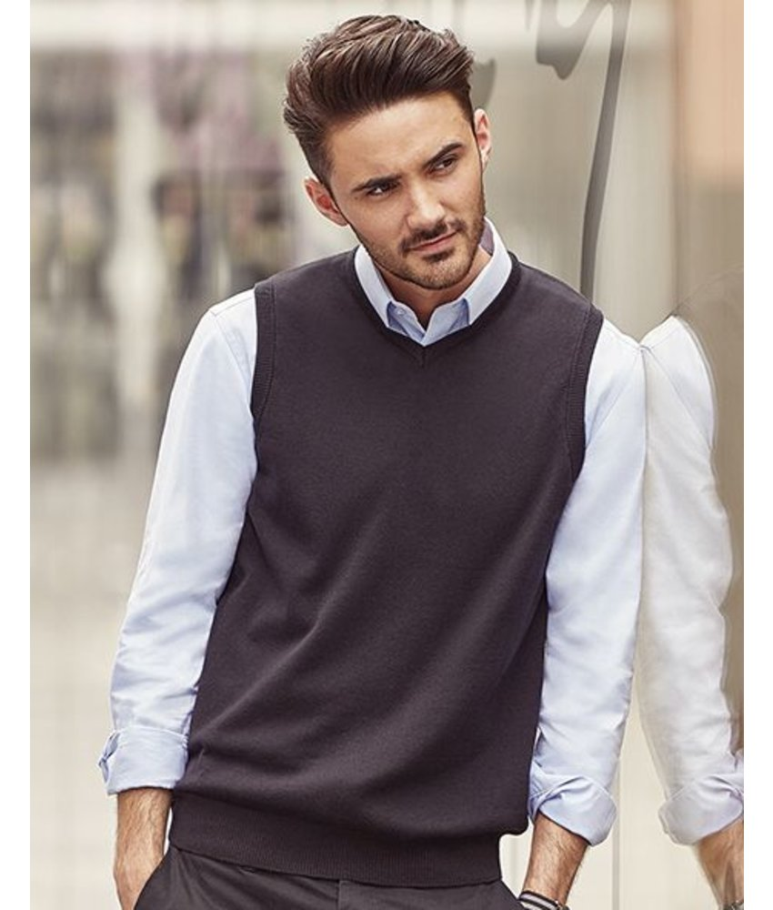 Russell Collection Mens V-Neck Sleeveless Knitted Pullover
