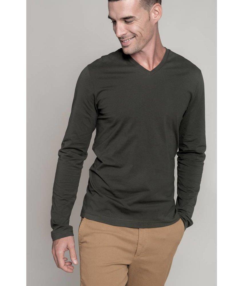 Kariban Men's Long Sleeve V-neck T-shirt