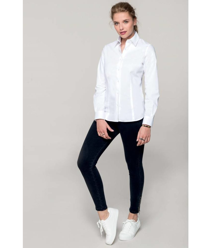 Kariban Dames stretch blouse lange mouwen