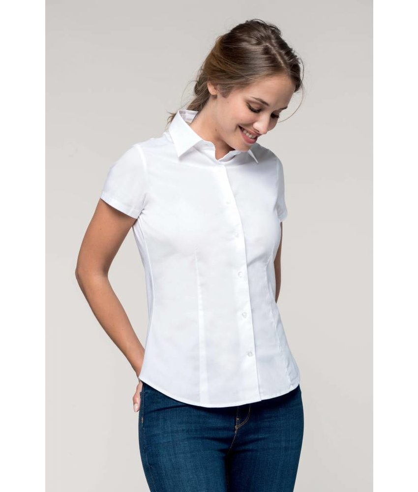 Kariban Dames stretch blouse korte mouwen