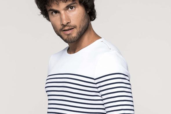 K366 | Gestreept heren-t-shirt lange mouwen
