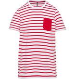 Kariban Gestreept T-shirt met zak en korte mouwen kids