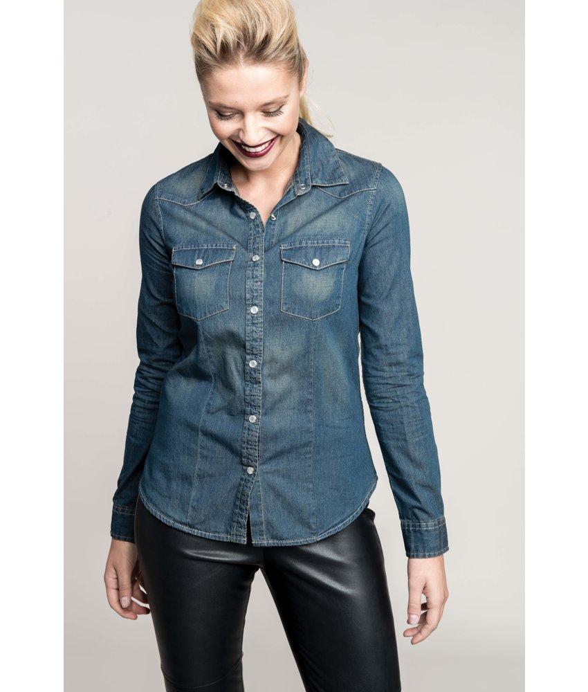 Kariban Dames denim blouse lange mouwen