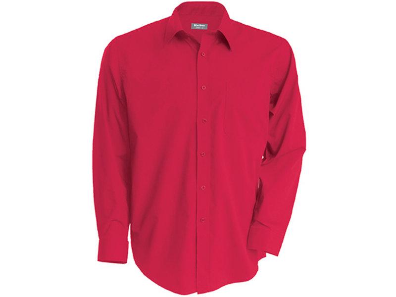Kariban Heren poplin overhemd lange mouwen