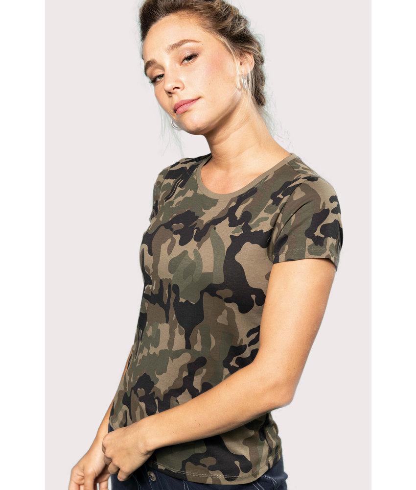 Kariban Dames-t-shirt camo korte mouwen