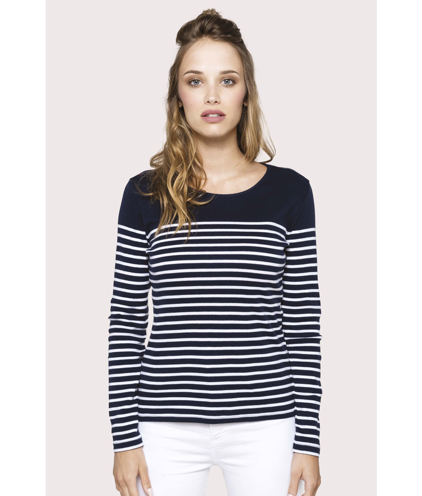 Kariban | K386 | Ladies' long-sleeved Breton stripe top