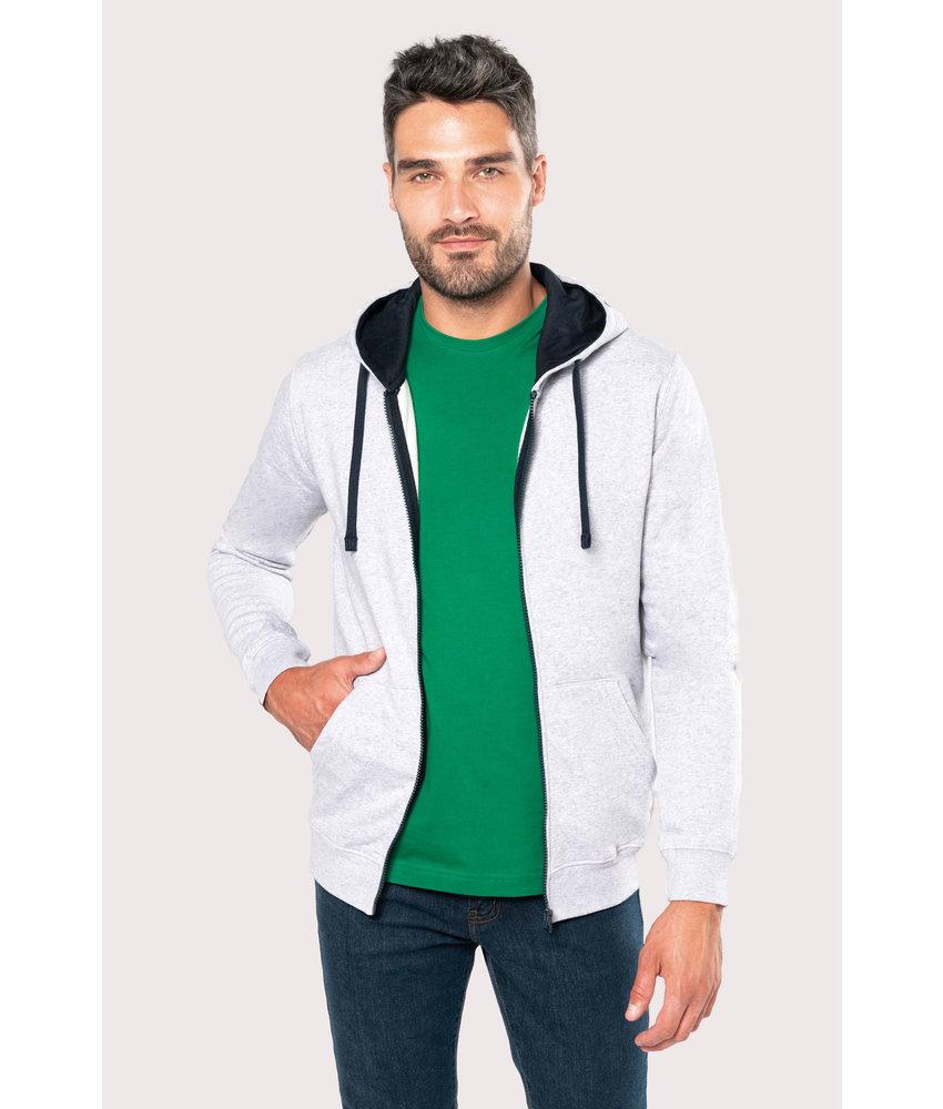 Kariban | K466 | Men's contrast hooded full zip sweatshirt
