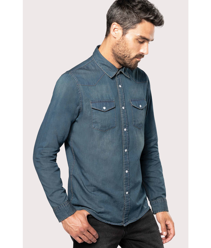 Kariban | K519 | Men's long-sleeved denim shirt