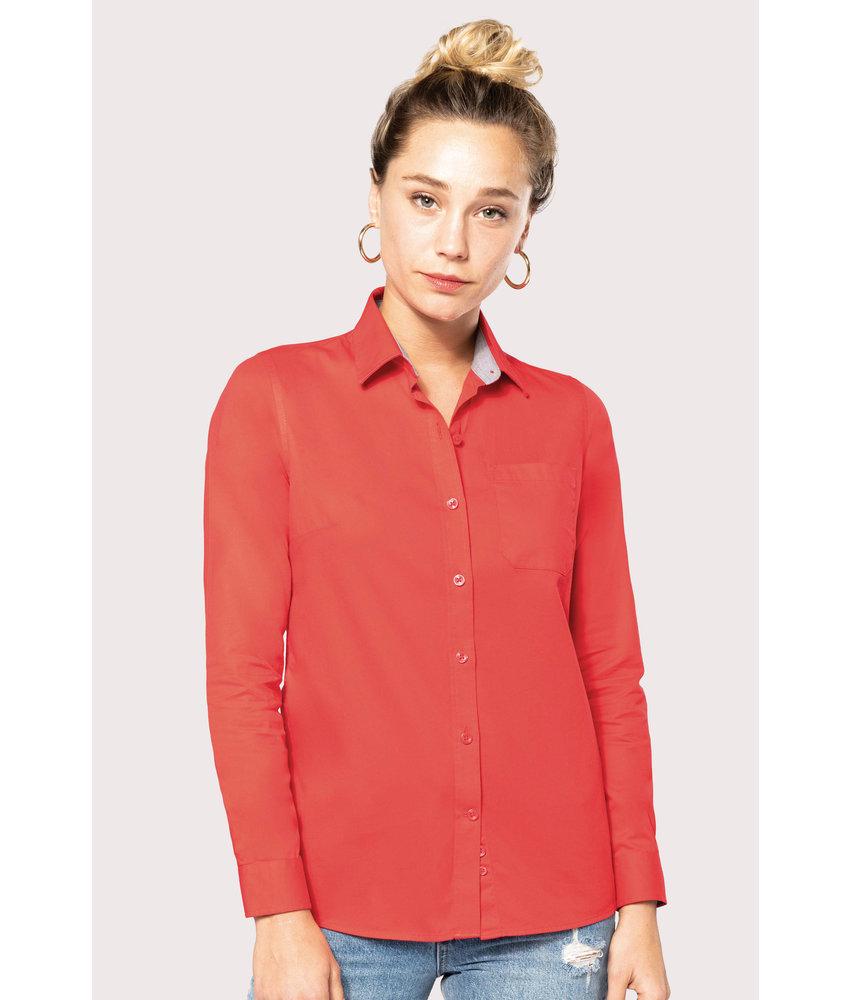 Kariban Damesoverhemd met lange mouwen van katoen Nevada