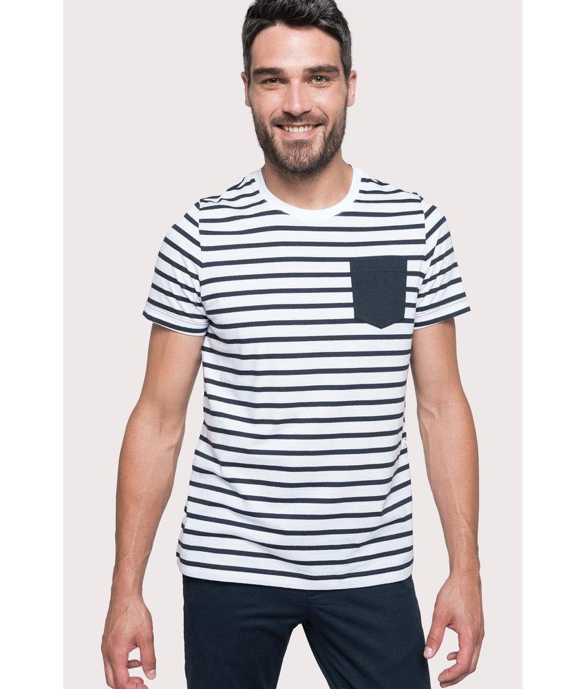 Kariban Gestreept T-shirt met zak en korte mouwen