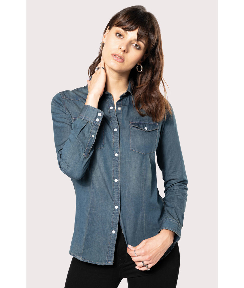 Kariban | K518 | Ladies' long-sleeved denim shirt
