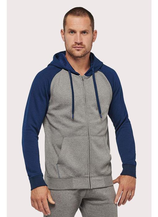 Proact   PA380   Unisex two-tone zipped hooded fleece jacket