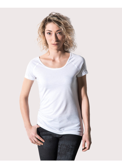 Nakedshirt | 146.85 | TF-RL-O-BL127 | Emily Viscose-Cotton Rolled Up Raglan T-Shirt