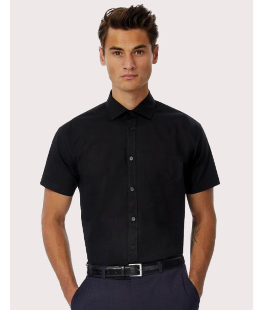 B&C | CGSMP22 | 723.42 | SMP22 | Black Tie SSL/men Poplin Shirt