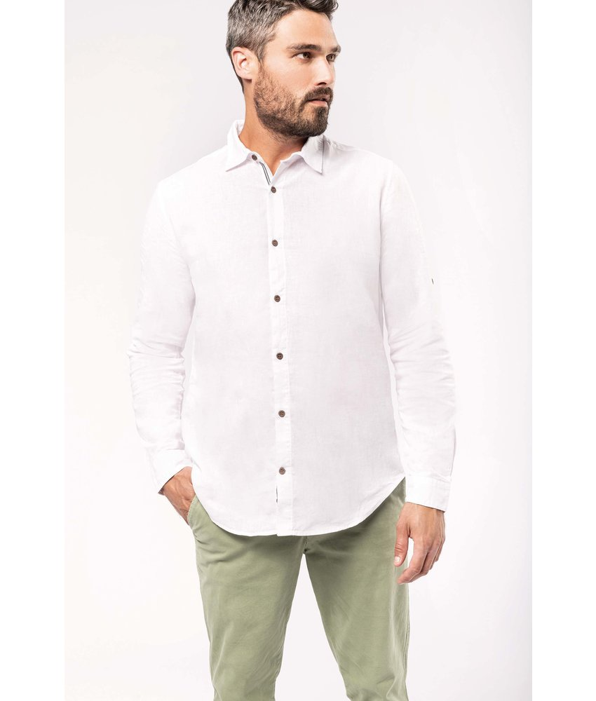 Kariban | K588 | Men's long sleeve linen and cotton shirt
