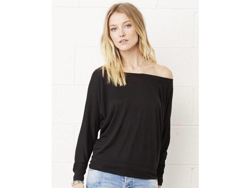 Bella + Canvas Flowy LS Off Shoulder T-Shirt