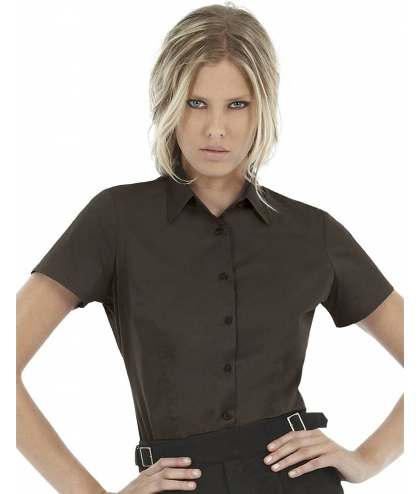 B&C Ladies' Black Tie Elastane Short Sleeve Poplin Blouse