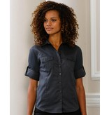 Russell Collection Womens Roll 3/4 Sleeve Blouse