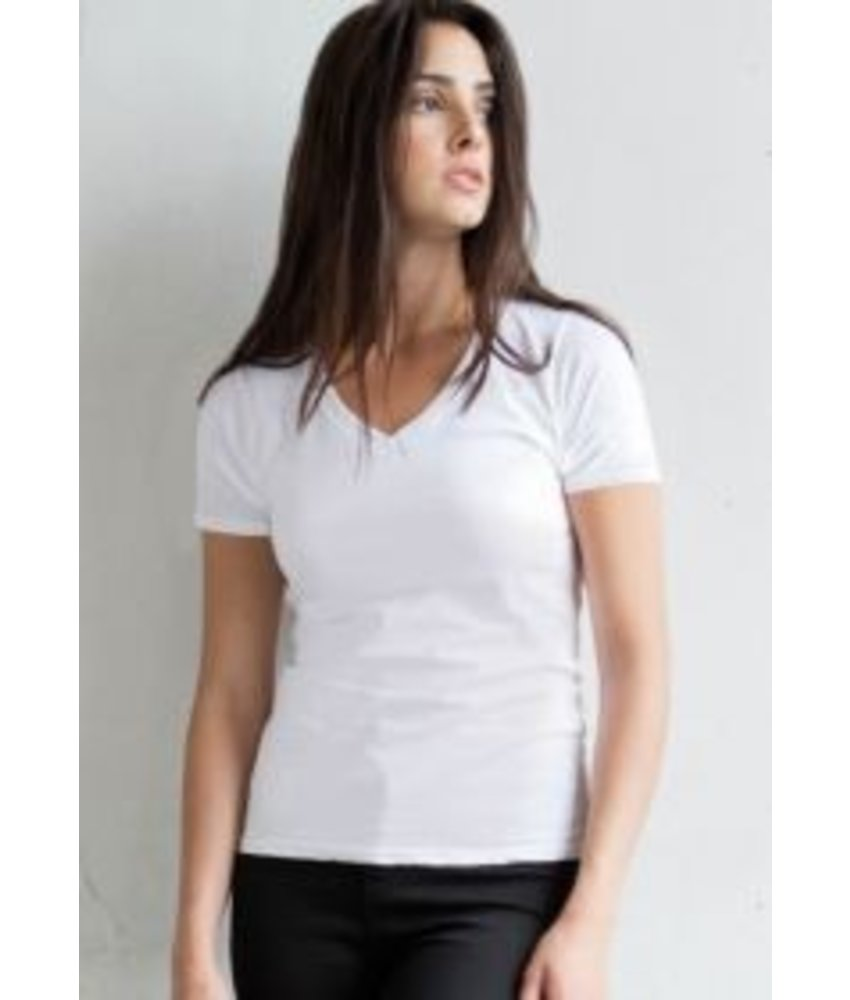 Skinni Fit Ladies Stretch V-Neck T-shirt
