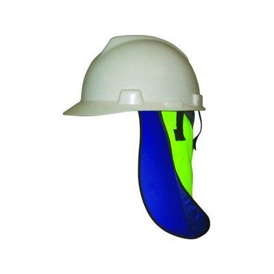 HyperKewl Evaporative head cooling under safety helmet with neck shade