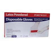 Portwest Gepoederde Latex Disposable handschoenen -A910 - White