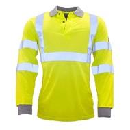 Portwest Vlamvertragend Antistatisch Hi-Vis Poloshirt met lange mouw -FR77 - Yellow