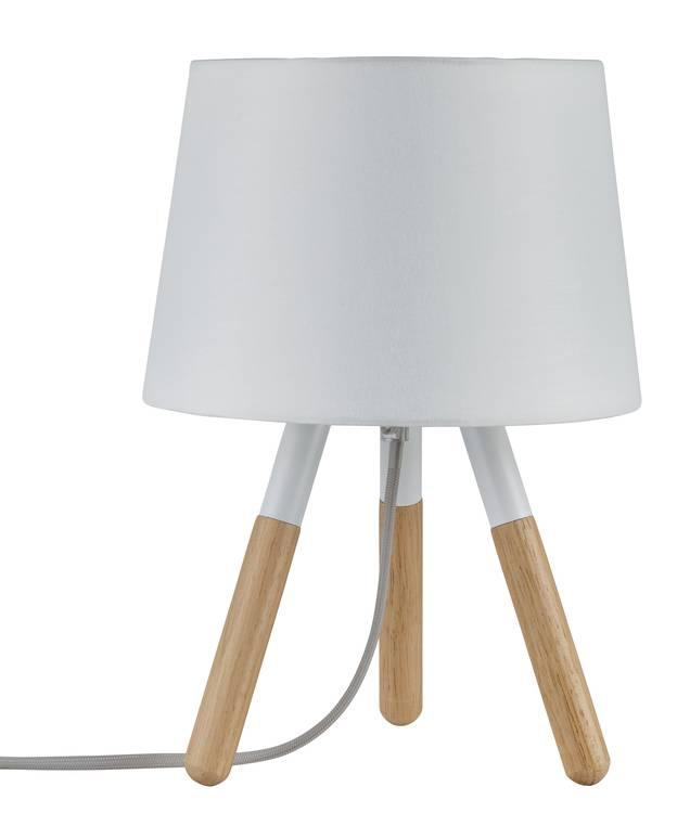 Paulmann Neordic Berit Tischleuchte max.1x20W E27 Weiß/Holz 230V Stoff/Holz/Metall