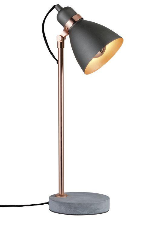 Paulmann Neordic Orm Tischleuchte max.1x20W E27 Grau/Kupfer matt 230V Metall/Beton