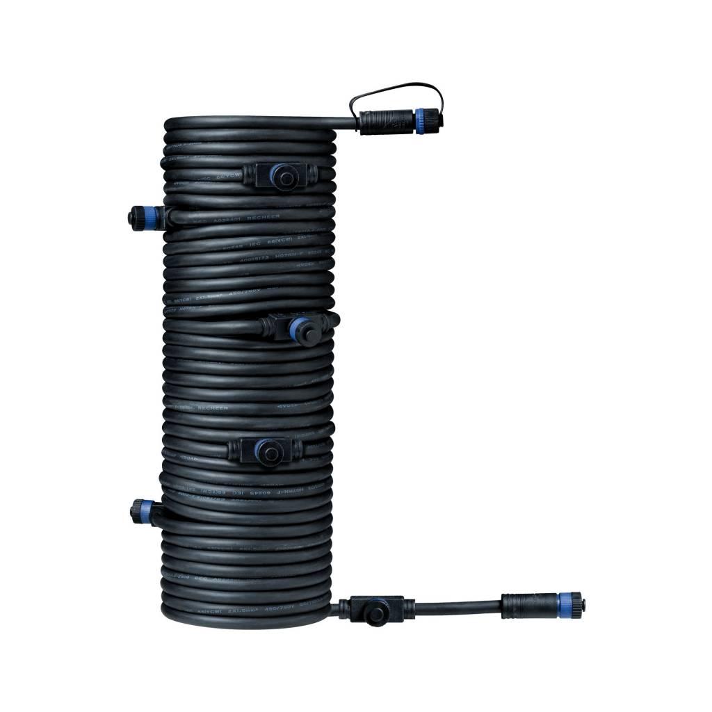 Paulmann Plug & Shine Kabel IP68 15m Schwarz mit sieben Anschlussbuchsen