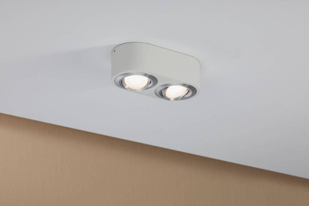 Paulmann LED Deckenleuchte Argun 2-flammig 9,6W Weiß matt/Alu gebürstet