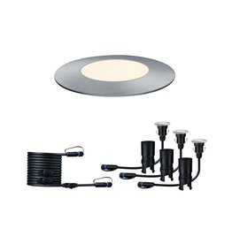 Paulmann Plug & Shine Bodeneinbauleuchte Floor Mini Set IP65 3000K 3x2,5W 24V Silber