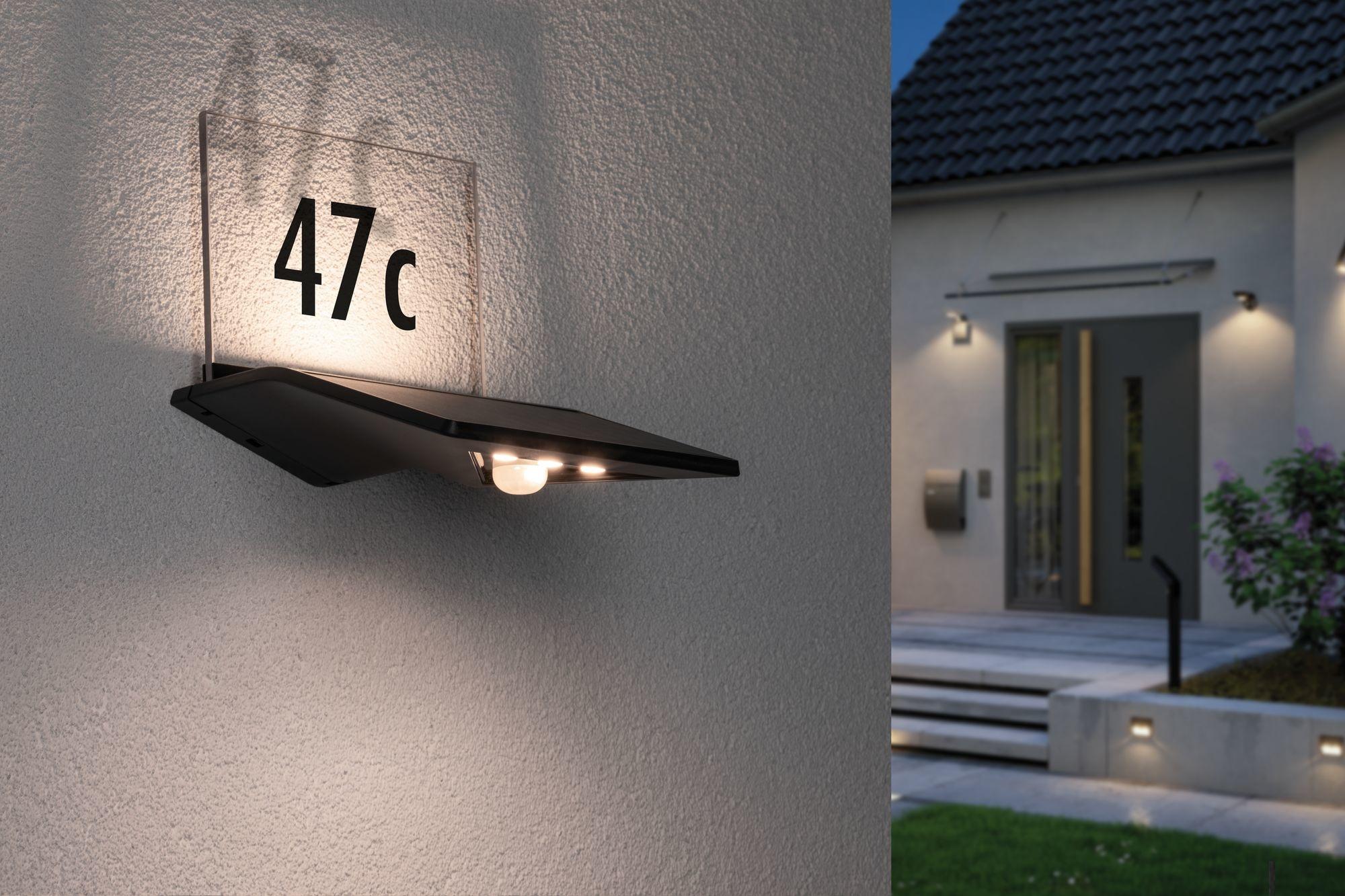 Paulmann Outdoor Solar bel. Hausnummer Yoko IP443000K 150lm Bewegungsmelder Anthrazit