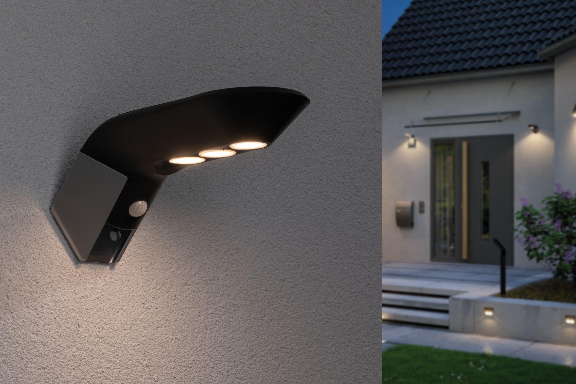 Paulmann Outdoor Solar Wandleuchte Soley IP443000K 100lm Bewegungsmelder Anthrazit
