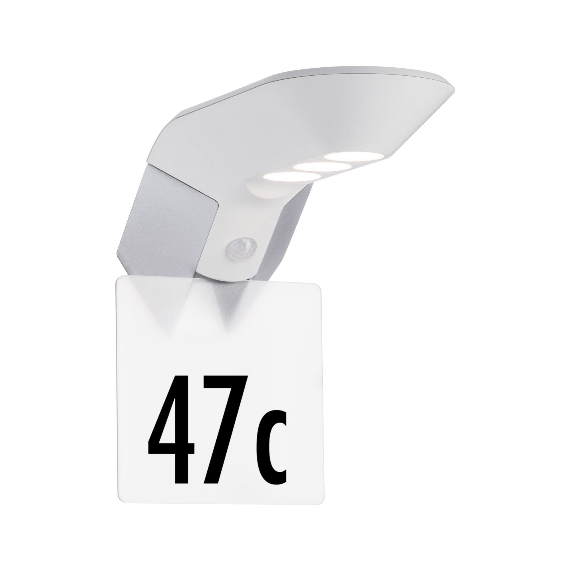 Paulmann Outdoor Solar Wandleuchte Soley IP44Zubehör Hausnummer Metall Weiß