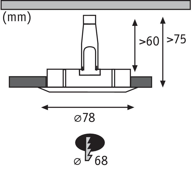 Paulmann EBL Set Nova rd starr LED IP44 3-stepdim1x6,5W 230V GU10 51mm Eisen geb/Alu
