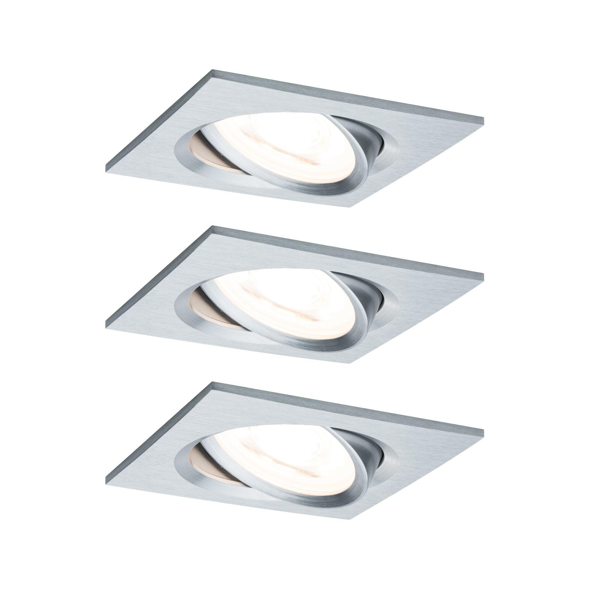 Paulmann EBL Set Nova eckig schw LED 3-stepdim3x6,5W 230V GU10 51mm Alu ged/Alu
