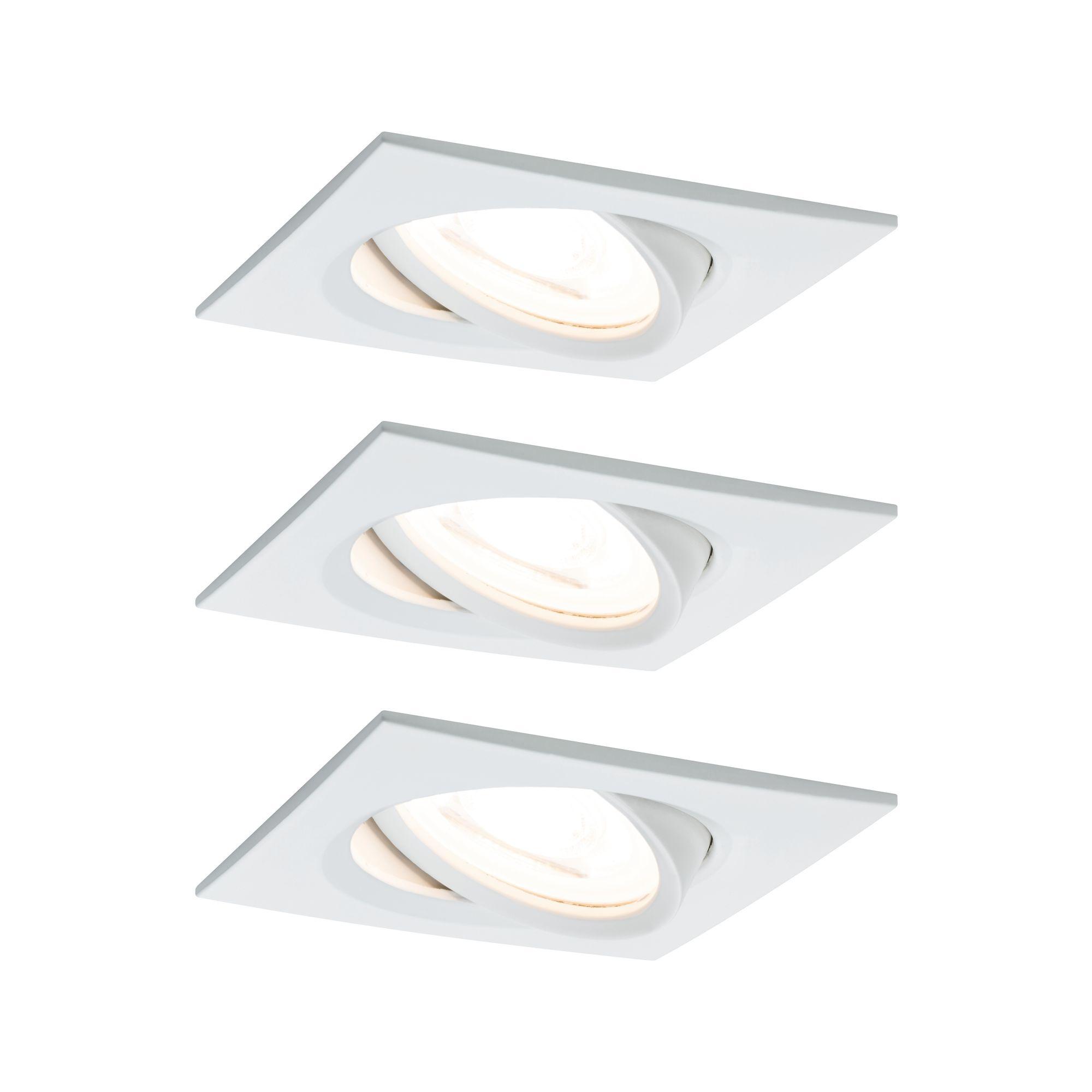 Paulmann EBL Set Nova eckig schw LED 3-stepdim3x6,5W 230V GU10 51mm Weiß matt/Alu