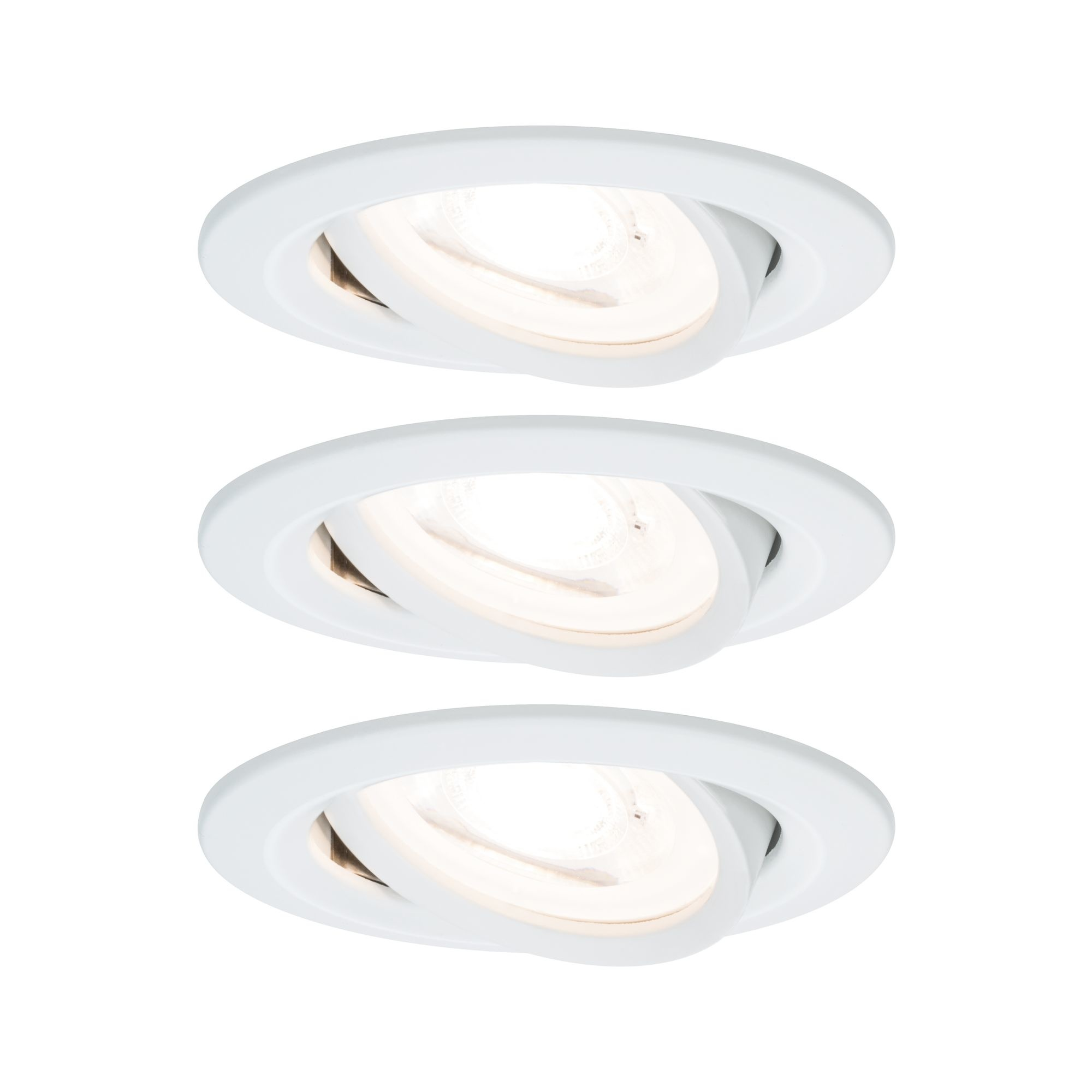 Paulmann EBL Set Nova rd schw LED 3stepdim 3x6,5W230V GU10 51mm Weiß matt/Alu