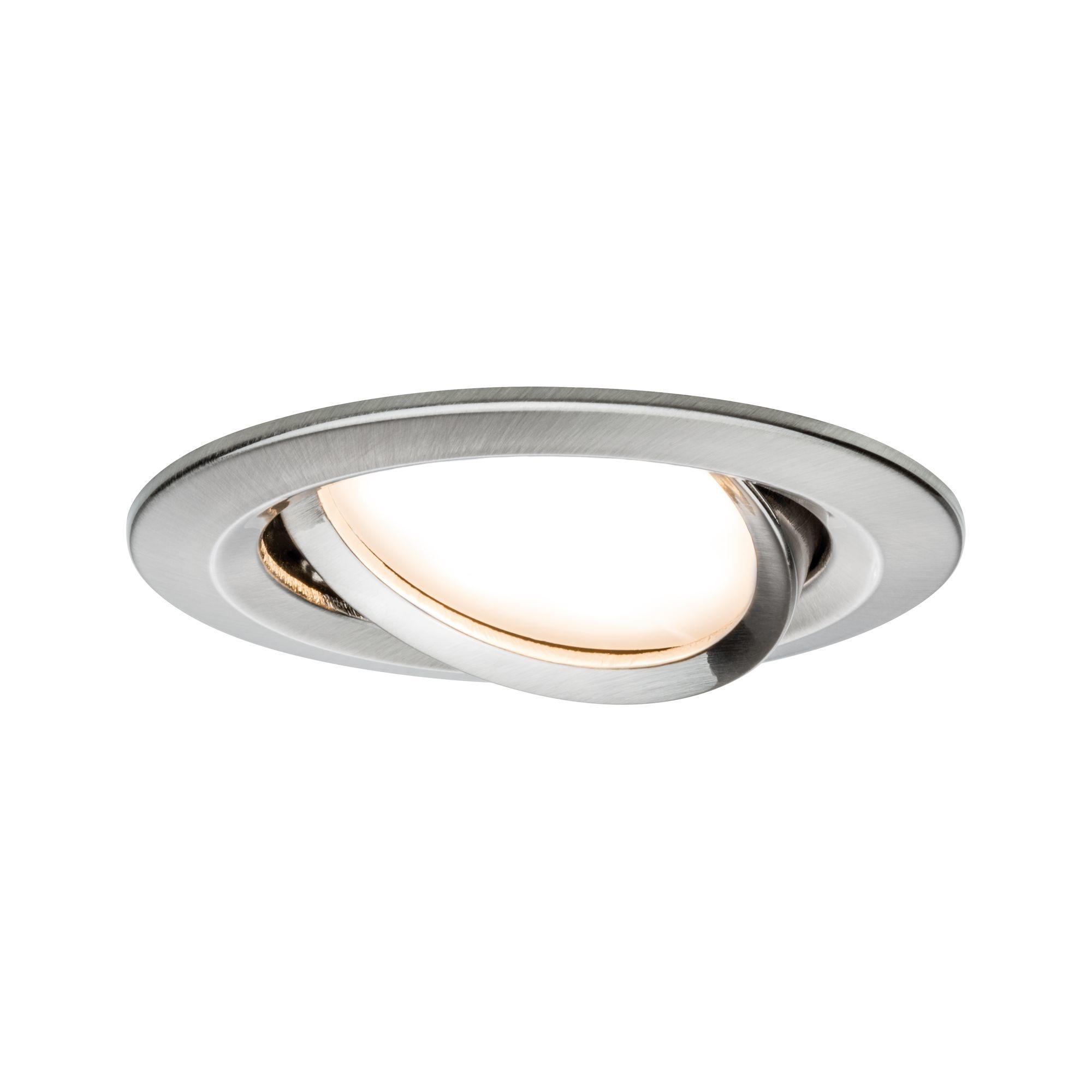 Paulmann EBL Set Nova Coin rund schwenkbar LED1x6,5W 2700K 230V Eisen geb/Alu
